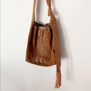 Bohemian Style Suede & Leather Drawstring Handbag